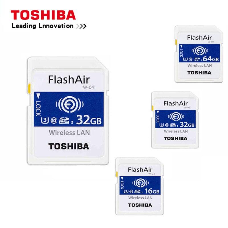 Toshiba 16 ГБ/32 ГБ/64 ГБ Micro SD карты флэш-Air 4th поколения Беспроводной LAN встроенного SDXC карты памяти U3 Class10 Камера посвятить