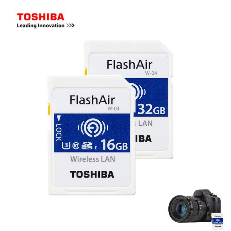 Toshiba 16 GB/32 GB/64 GB Micro SD карты флэш-Air 4th поколения Беспроводной LAN встроенного SDXC U3 Class10 Камера посвятить