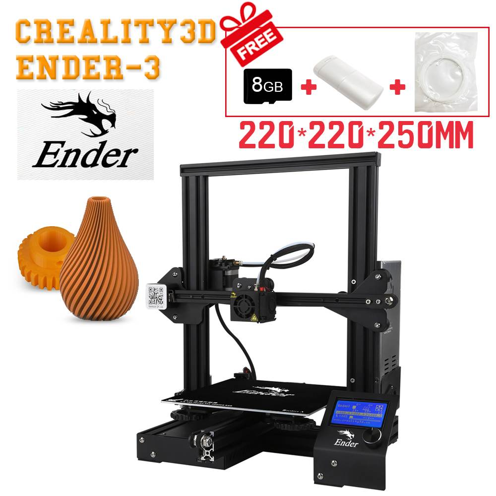 Pro Creality Ender-3 V-образными пазами I3 3D-принтеры комплект FDM Технология MK10 экструдер 1,75 мм 0,4 мм сопло 220x220x250 мм Размеры 3D-принтеры