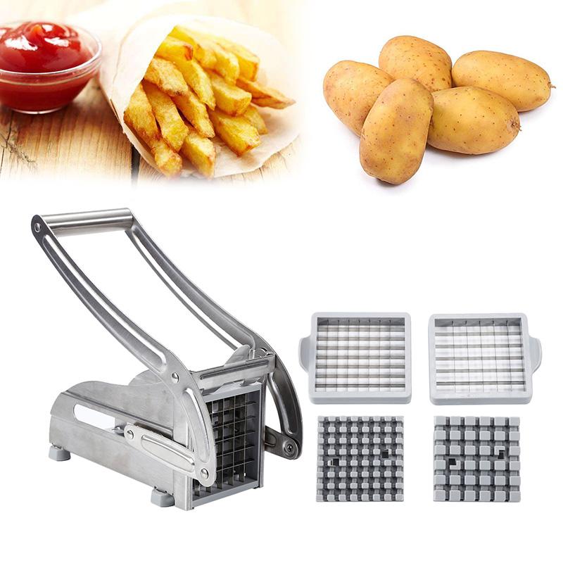 2 лезвия из нержавеющей стали домашний картофель фри картофельные чипсы полоса слайсер резак измельчитель чипсы машина инструмент для изго...