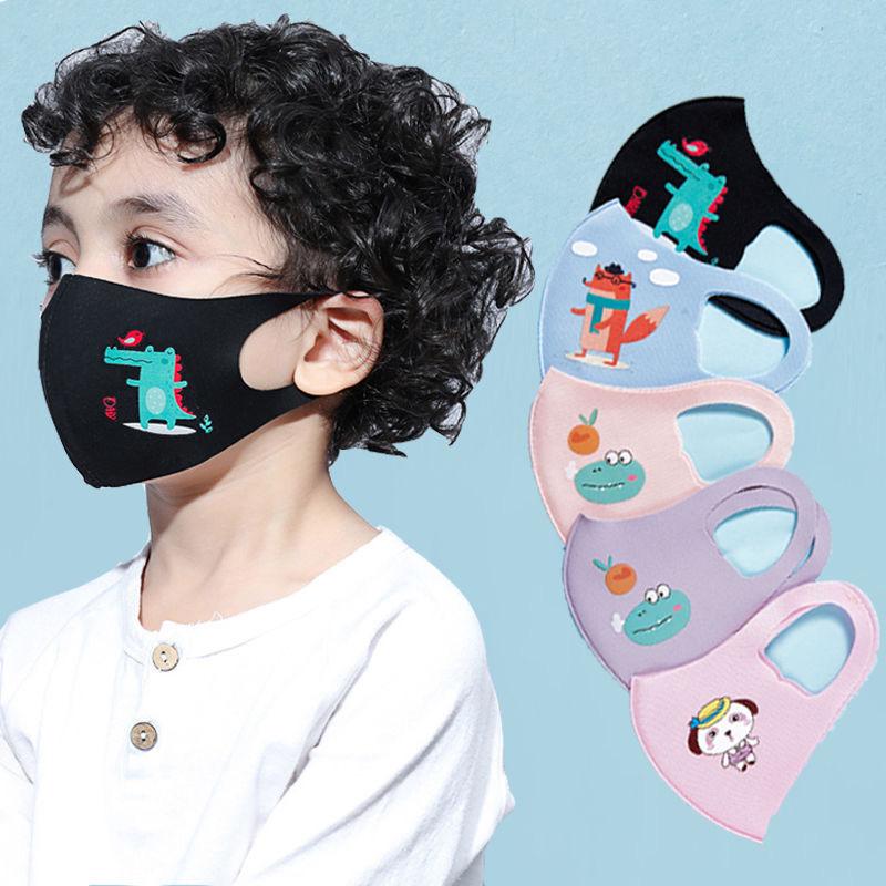 5 шт., Детская Хлопковая маска для рта с принтом, летние противопыльные маски, мягкие дышащие маски для лица, случайный цвет